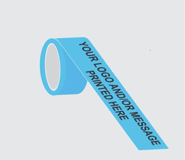 Demo image of light blue custom barricade tape express