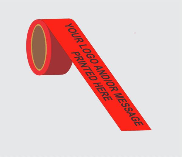 Demo image of custom printed red barricade tape