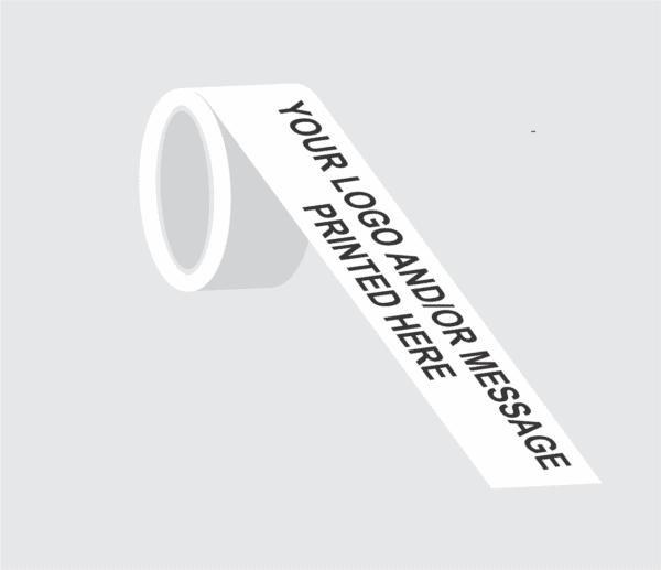 Demo image of custom printed white barricade tape