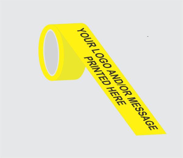 Demo image of custom printed yellow barricade tape